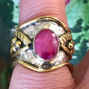 Jewelry - Two-Tone Natural Ruby Ring